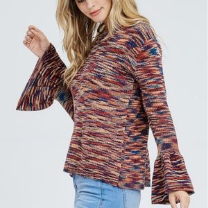 Long Bell Sleeve Multi Color Sweater Scoop Neck